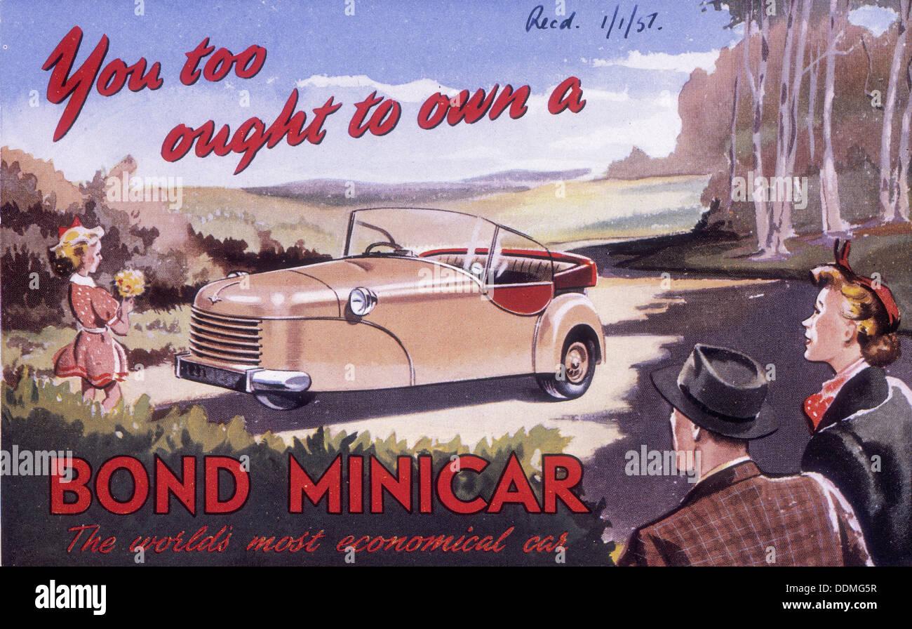 Une affiche publicitaire de Bond Minicar, 1951. Photo Stock