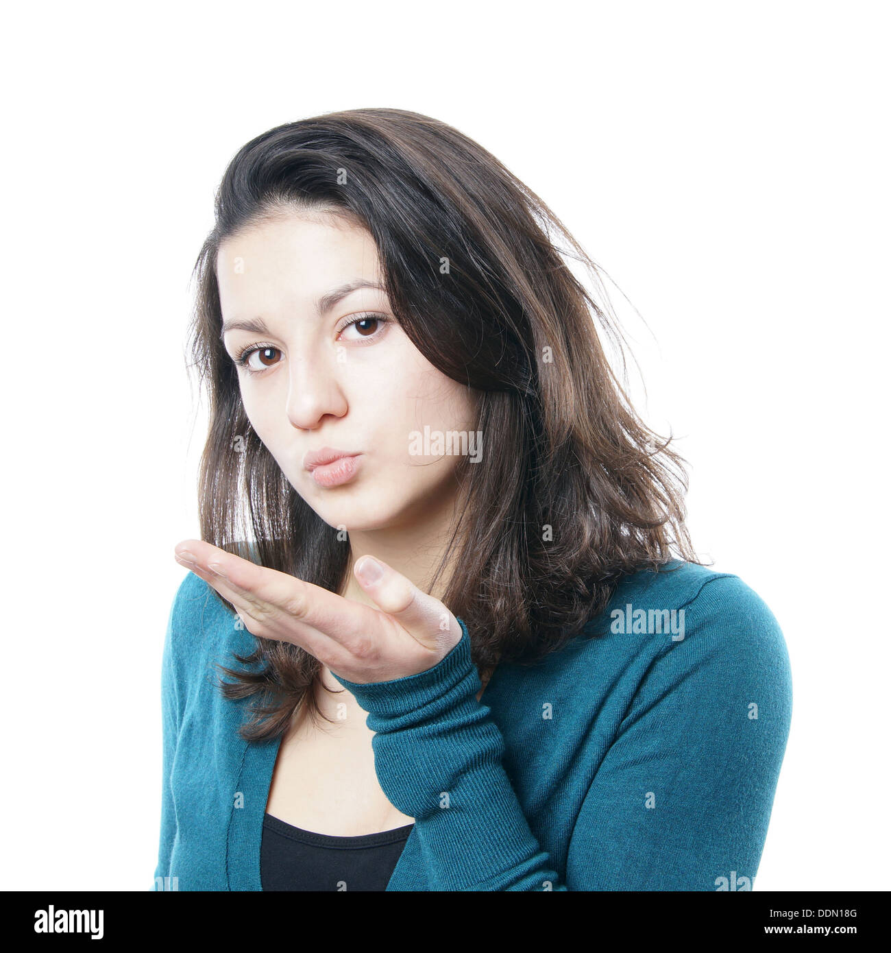 Teenage girl blowing a kiss Banque D'Images