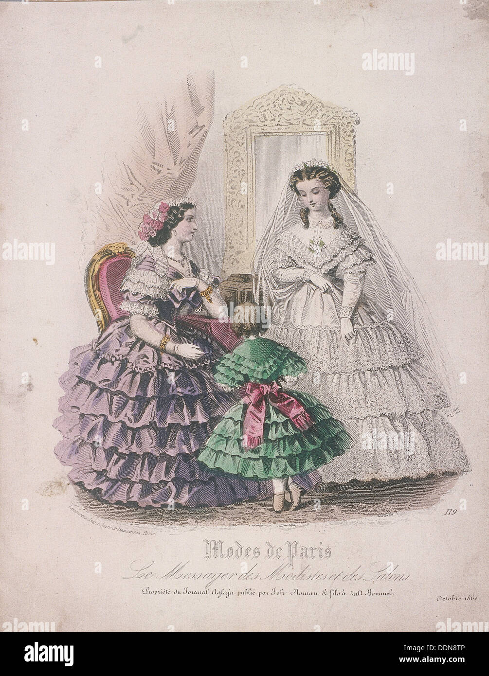 Deux femmes et un enfant portant la dernière mode, 1860. Artiste ...