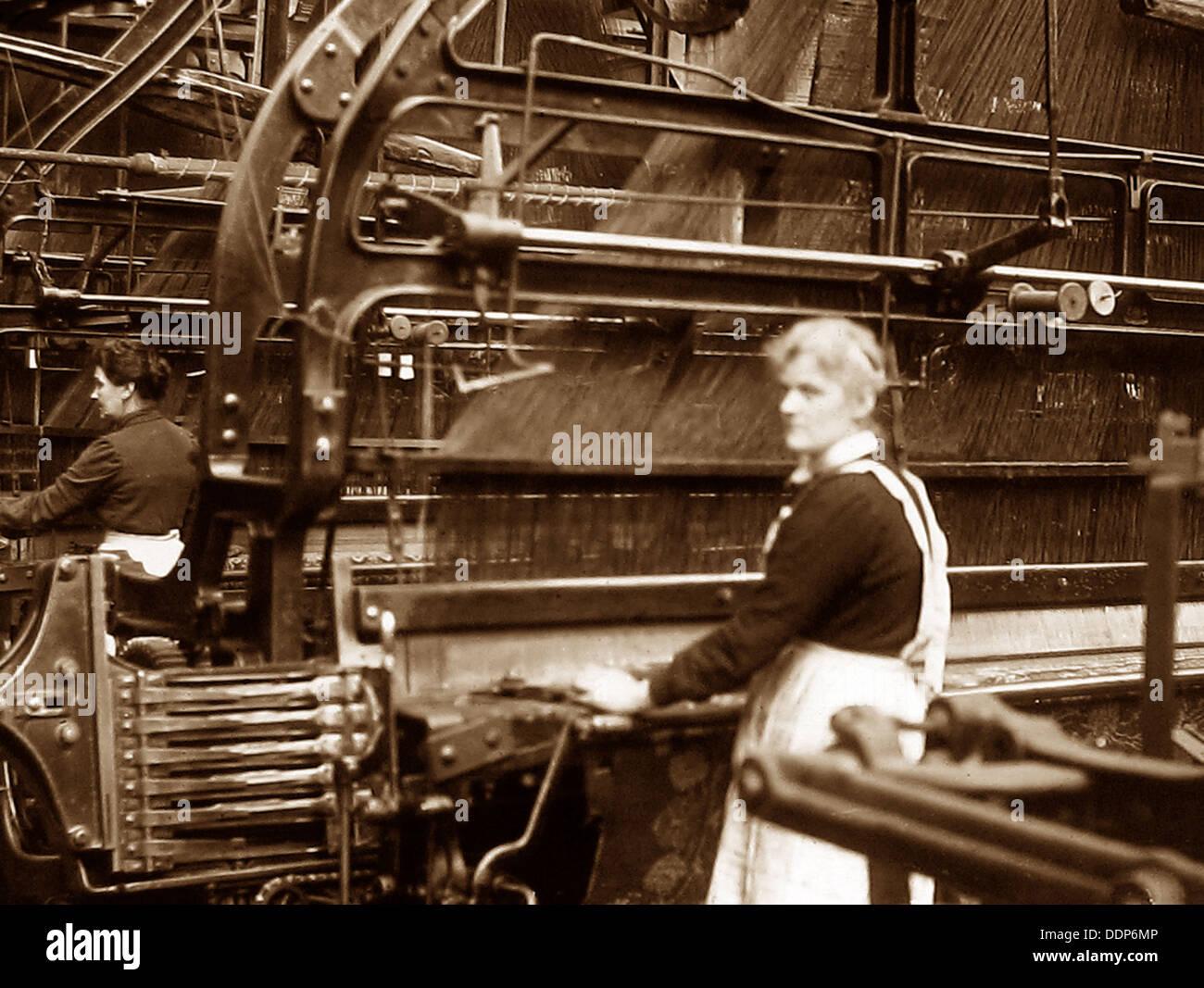 Au début des années 1900, des travailleurs du textile Photo Stock