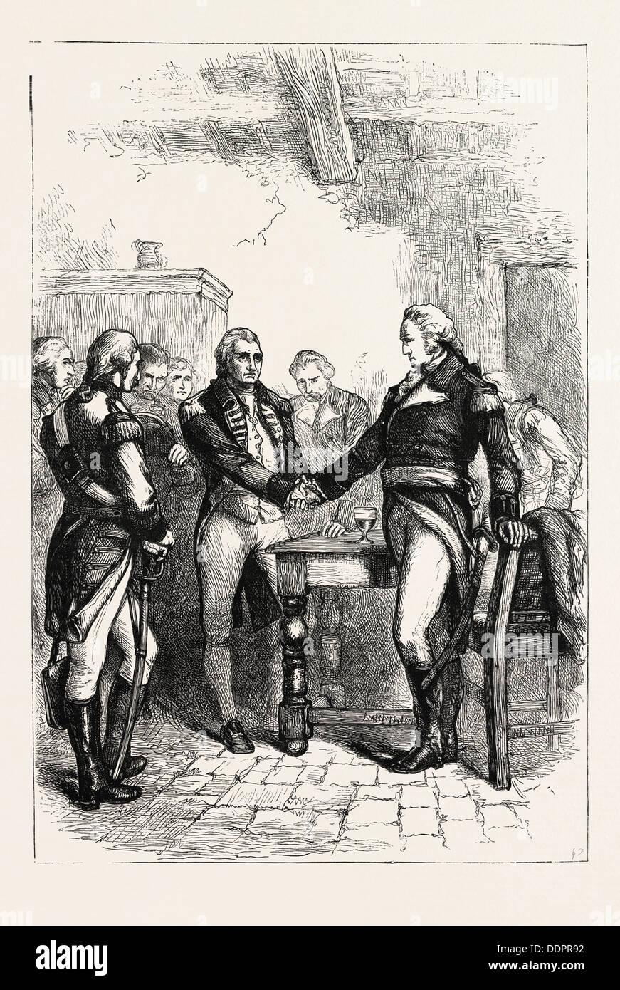 WASHINGTON EN PRENANT CONGÉ ses anciens camarades, US, USA, 1870 Gravure Photo Stock