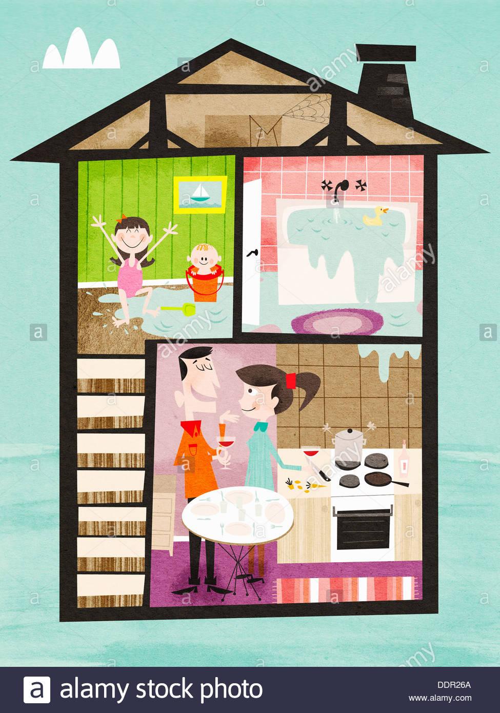 Enfants jouant dans l'eau de déborder et baignoire à l'étage et les parents de boire du vin en bas Photo Stock