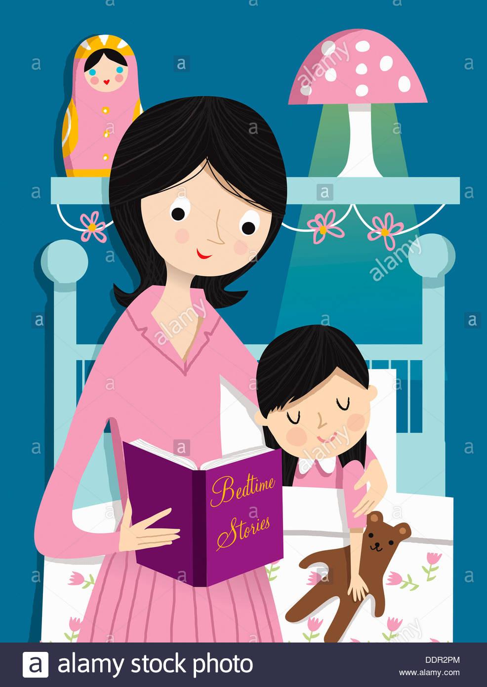 Histoire avant la lecture de la mère en fille Photo Stock