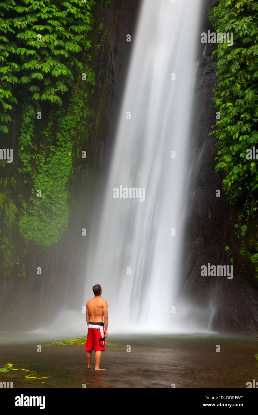 L'INDONÉSIE, Bali, montagnes centrales, Munduk, Cascade Photo Stock