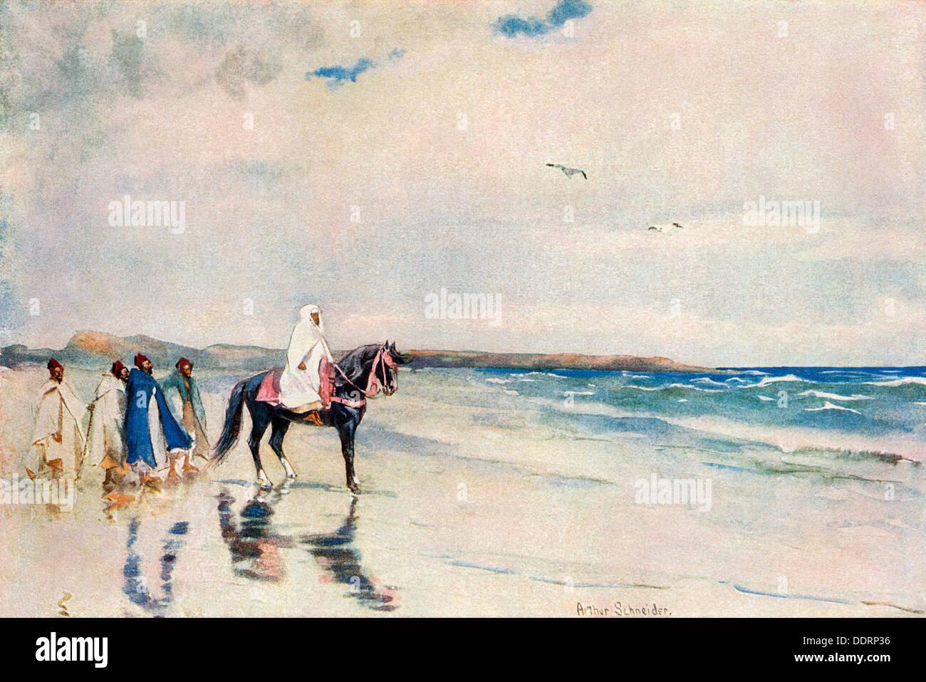 Le sultan Abd-ul-Aziz sur la rive ouest du Maroc, vers 1900. Demi-teinte de couleur d'une aquarelle par Arthur Schneider Photo Stock