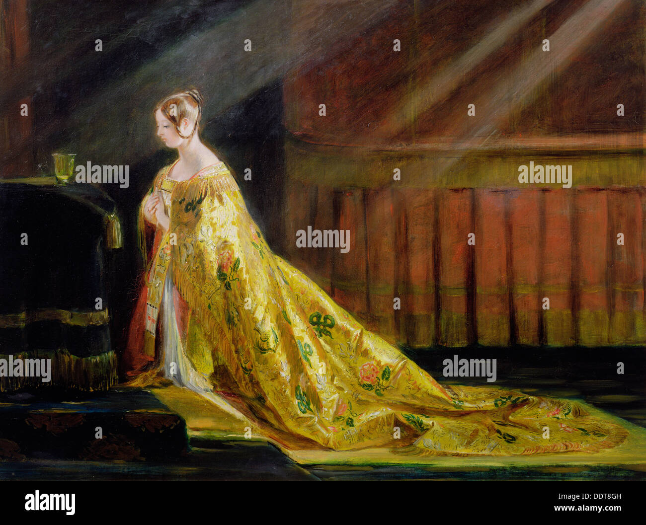 'La reine Victoria dans sa robe de couronnement', 1838. Artiste : Charles Robert Leslie Photo Stock