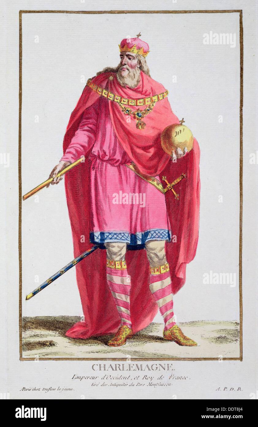 Charlemagne, roi des Francs, (1780). Artiste: Pierre Duflos Photo Stock