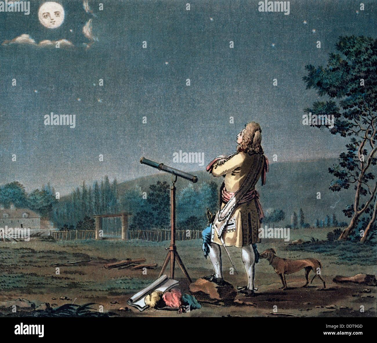 Bernard le Bovier de Fontenelle en contemplant la pluralité des mondes, 1791. Artiste: Jean Baptiste Morret Photo Stock