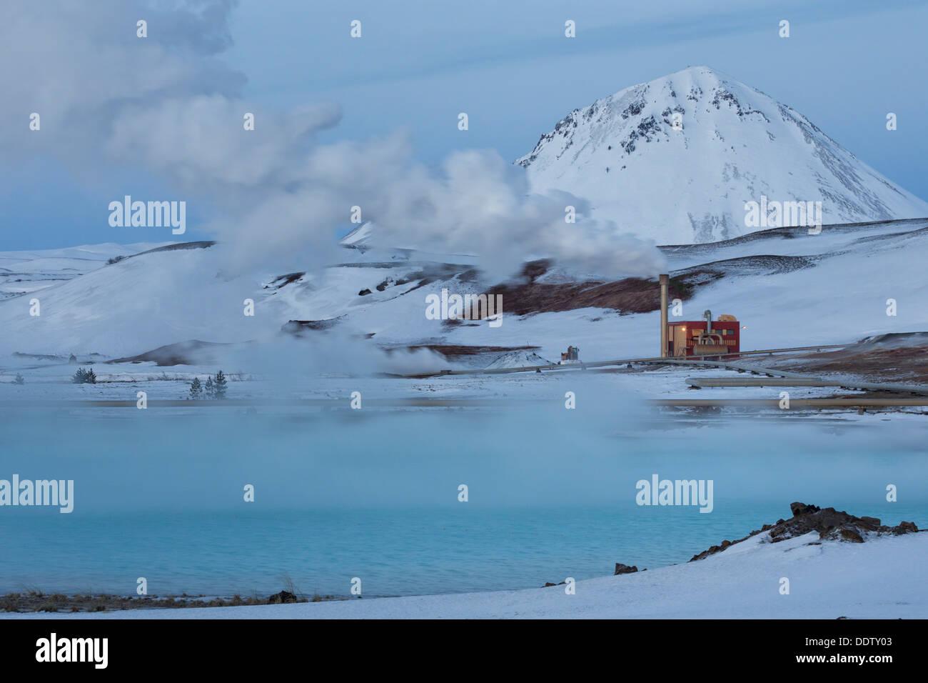 Station d'alimentation pour l'énergie géothermique, Krafla, Islande Photo Stock