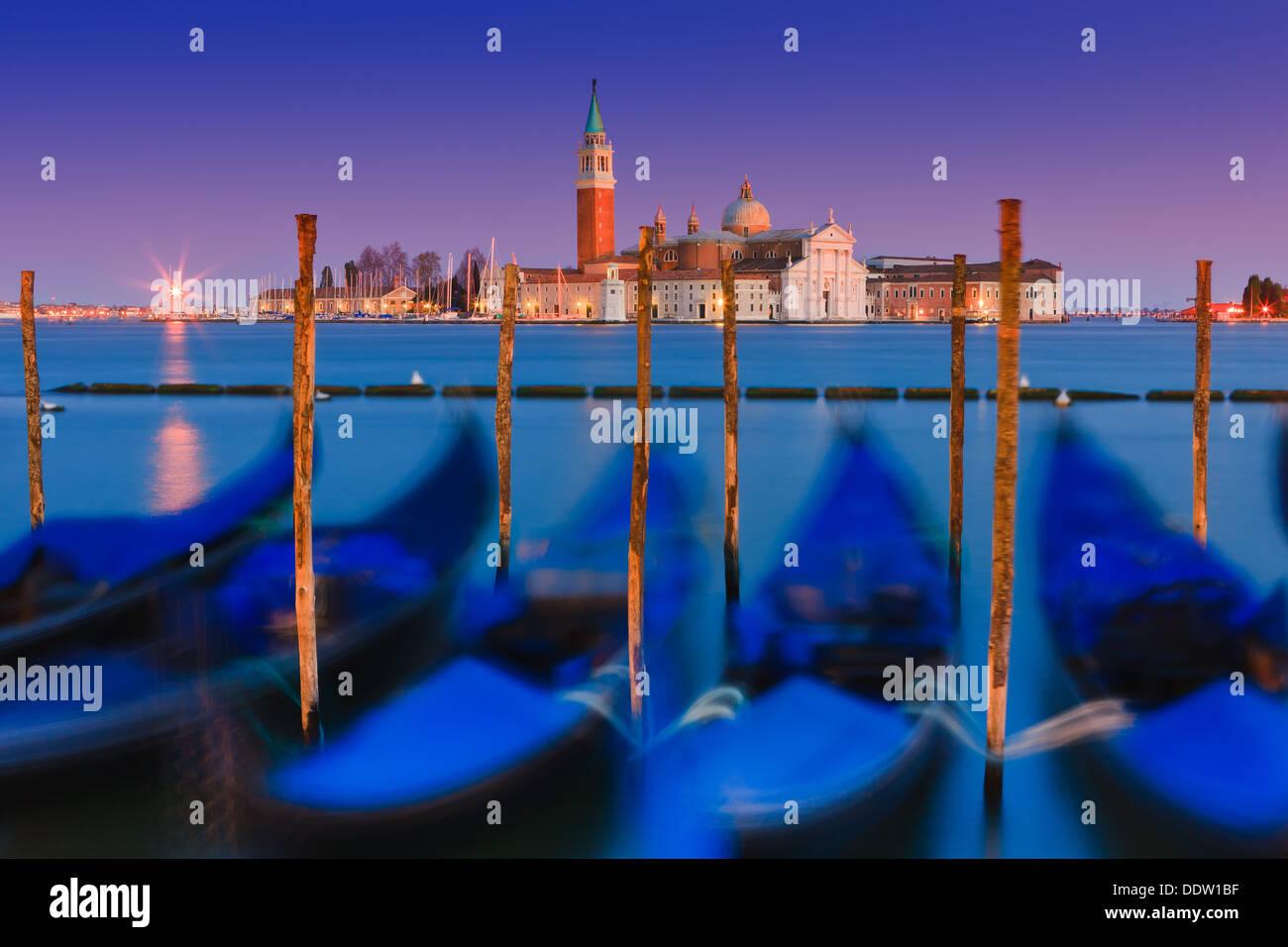 Coucher du soleil à Venise avec le point de vue de la place San Marco Photo Stock