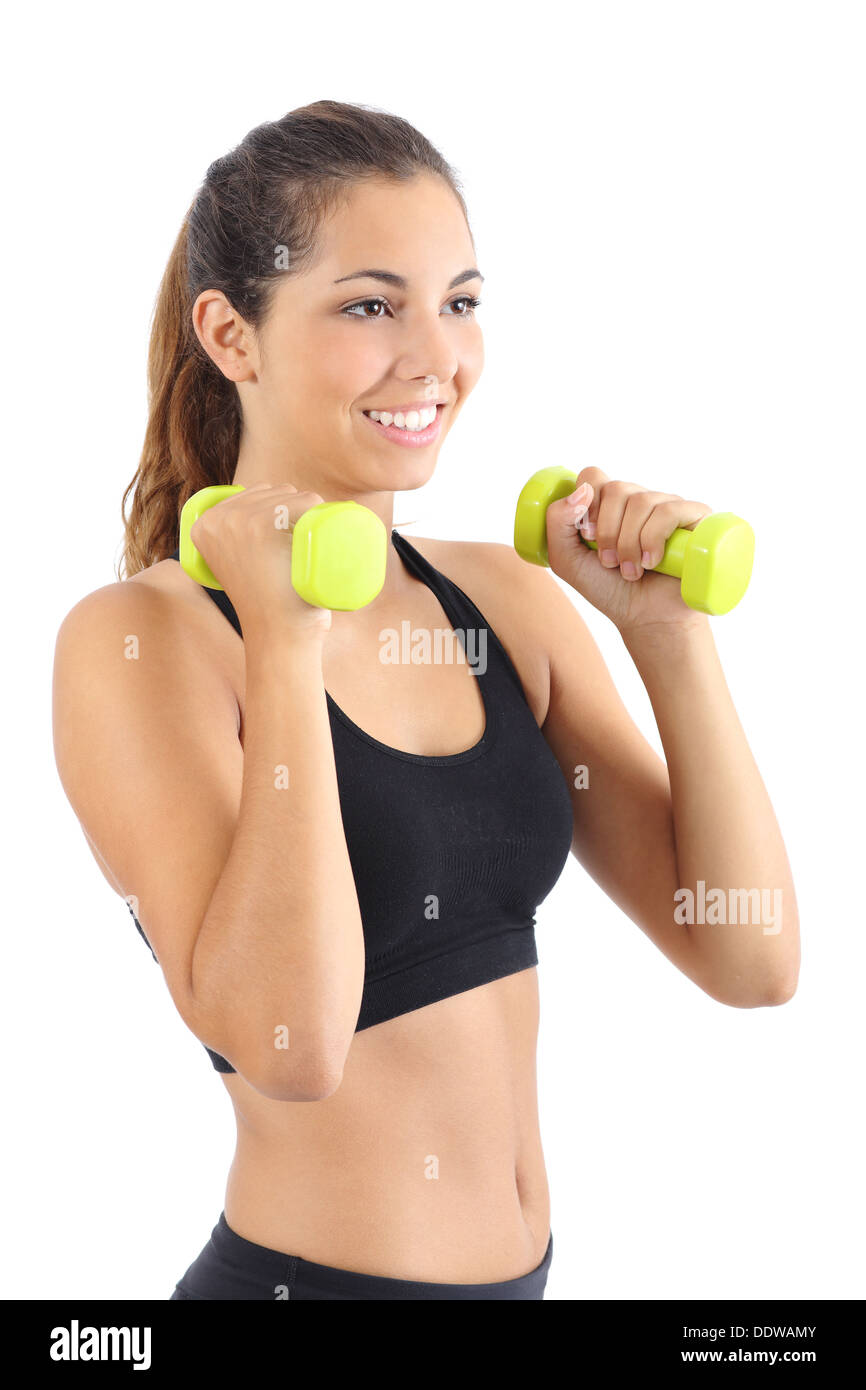 Belle femme fitness avec haltères aérobiques pratiquant isolé sur fond blanc Photo Stock