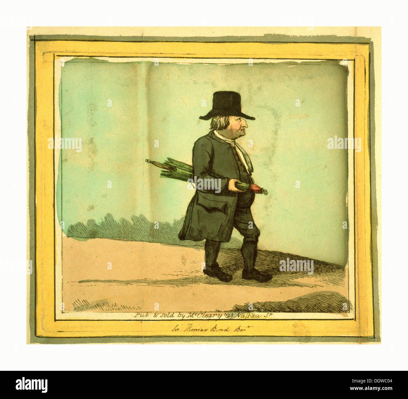 Sir Thomas Bond Bart, gravure 1795?, Sir Thomas Bond, portrait en pied, profil droit, exerçant son activité sous un parapluie Photo Stock