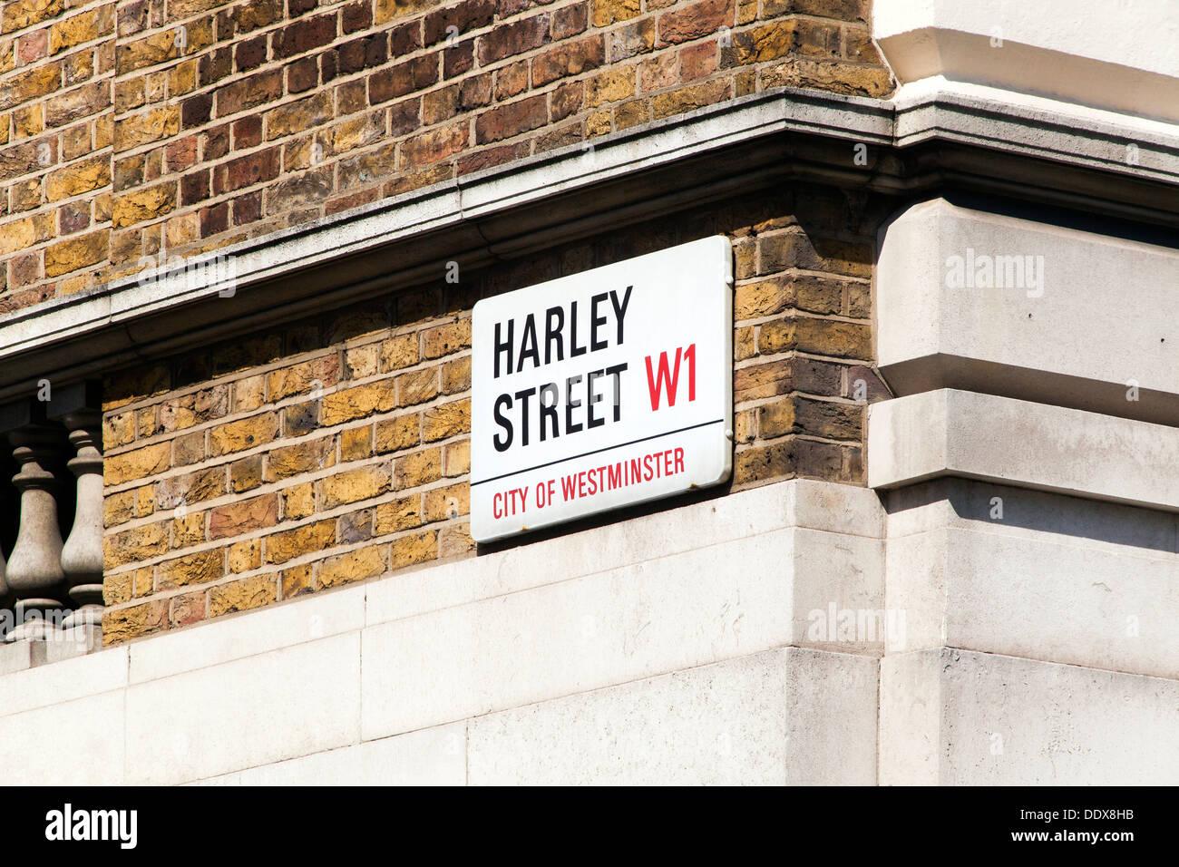 Harley Street London, l'emplacement d'un grand nombre de consultants médicaux privés. Photo Stock
