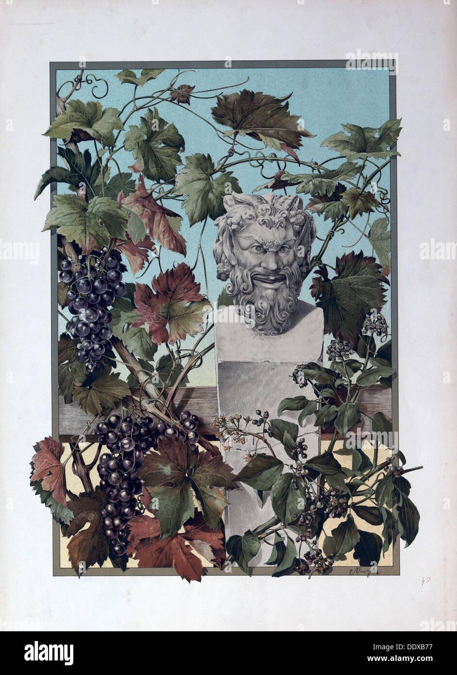 L'usine, les raisins, Bacchus, le vin, la mythologie, vigne, symbole, statue, sculpture, 19e siècle, vert, feuille, branche, floral Photo Stock
