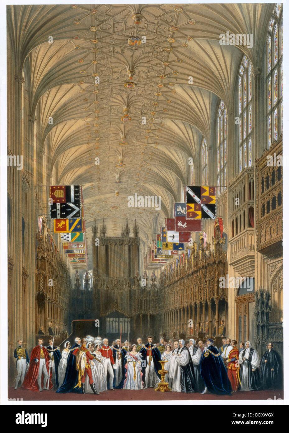 La reine Victoria et le Prince Albert à un service dans la Chapelle St George, le château de Windsor, 1838. Artiste: James Baker Pyne Photo Stock