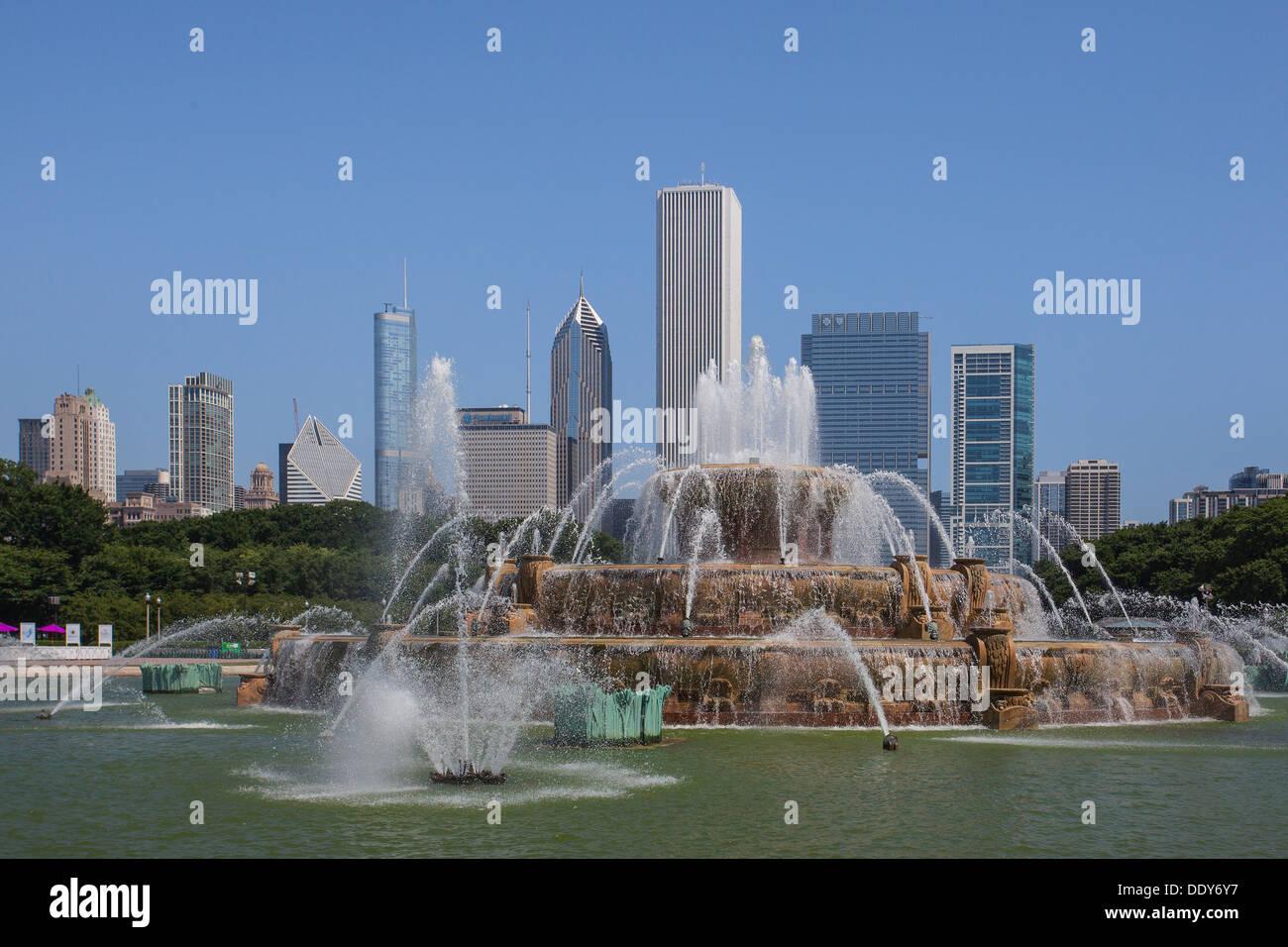 Célèbre fontaine de Buckingham dans Grant Park, Chicago, USA Photo Stock