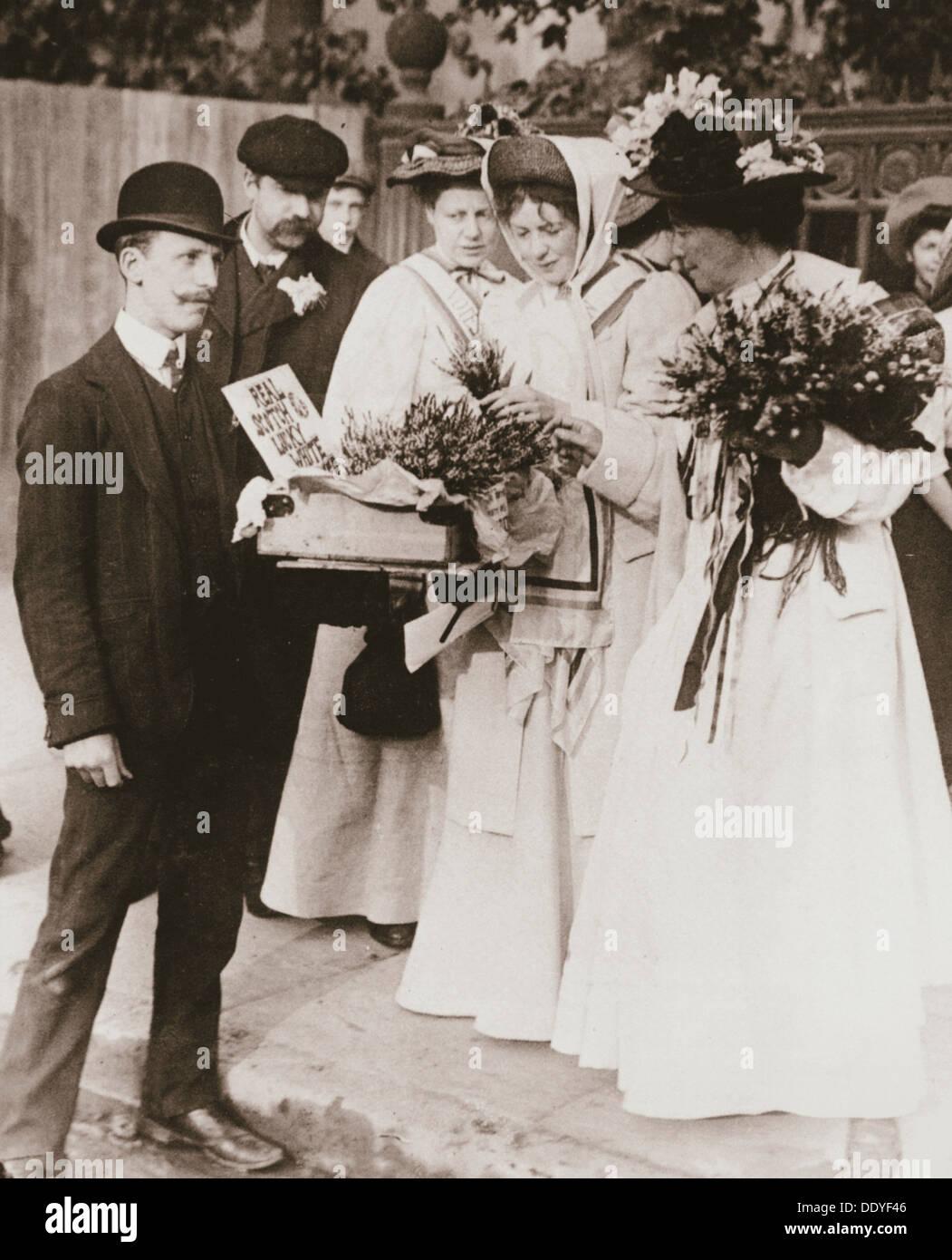 Sylvain Pankhurst et Emmeline Pethick-Lawrence (suffragettes, 18 Septembre, 1908. Artiste: Inconnu Banque D'Images