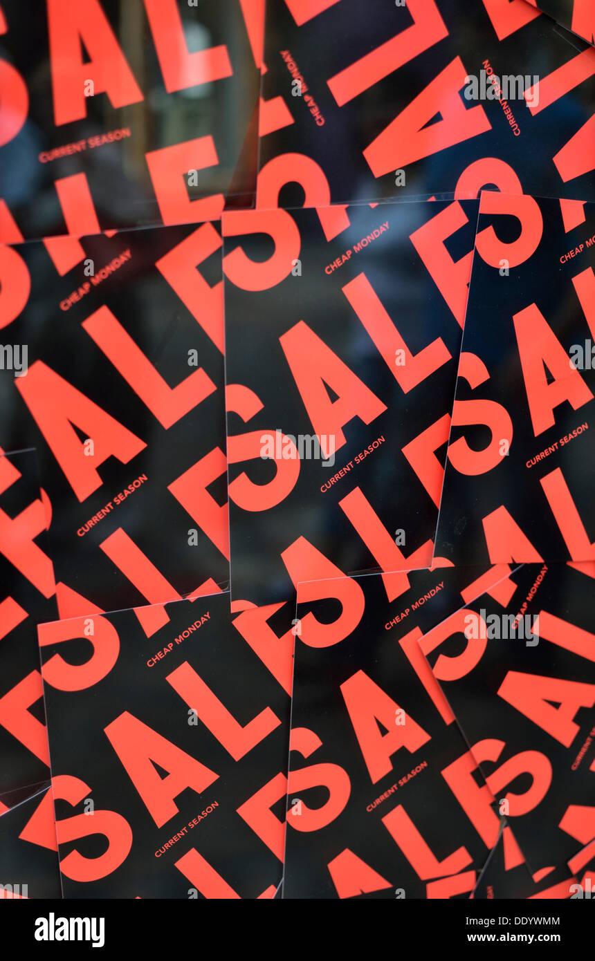 Collage des signes de vente rouge et noir Photo Stock