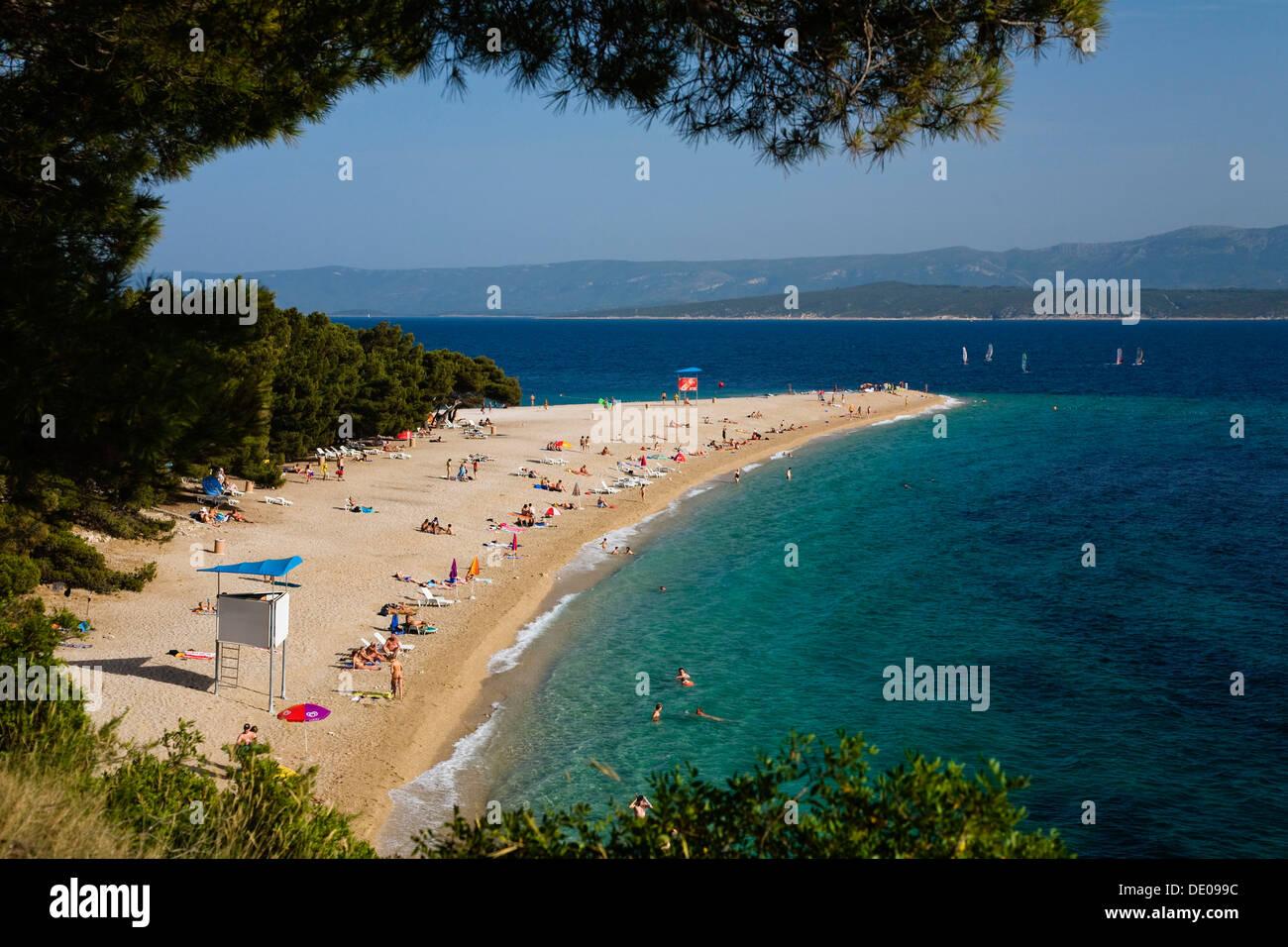 Plage de Zlatni Rat, Bol, Île de Brac, la Dalmatie, Croatie, Mer Adriatique, Mer Méditerranée, Europe Photo Stock