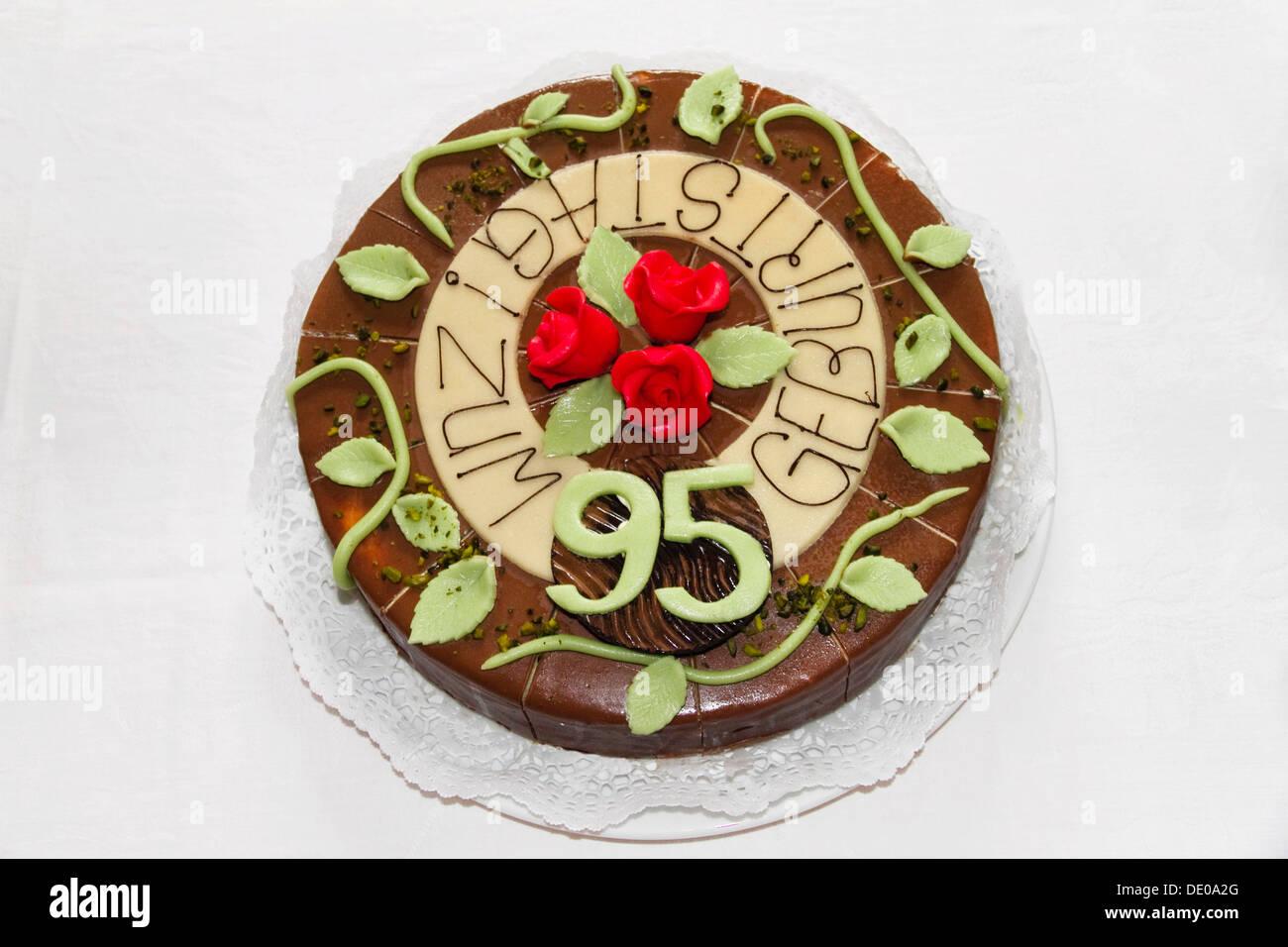 Gâteau d'anniversaire, 95e anniversaire Photo Stock