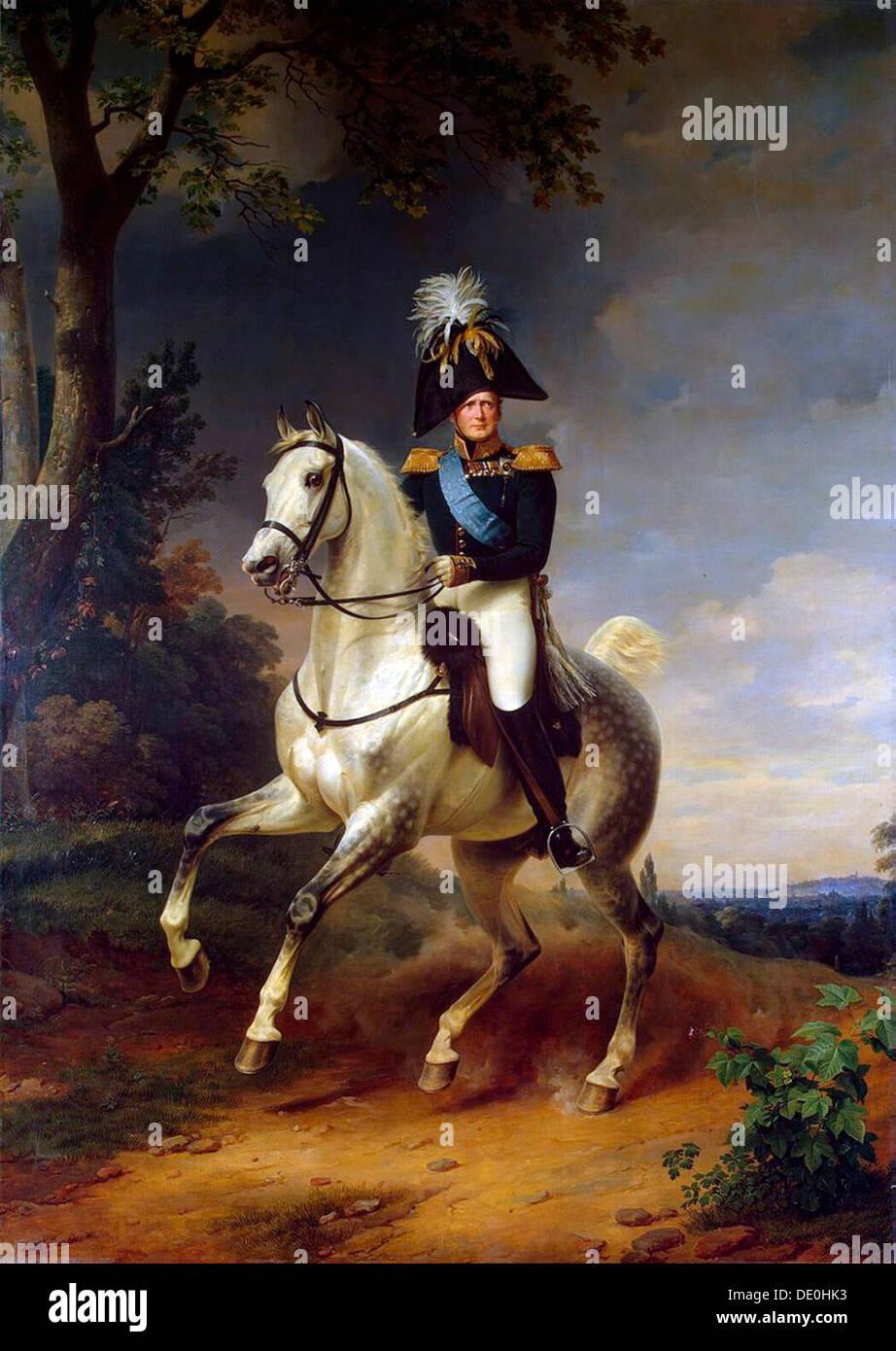 'Portrait équestre de l'empereur Alexandre I', (1777-1825), 1837. Artiste: Franz Kruguer Photo Stock