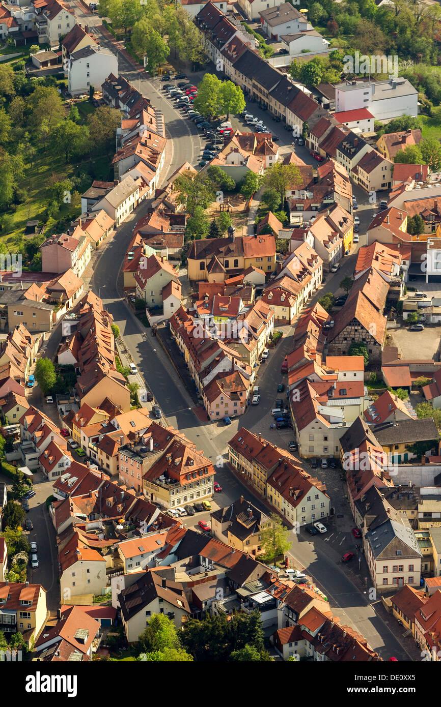 Vue aérienne, route historique mise en page, Laurenzistrasse street et haut de la rue Kaulberg, Bamberg, Haute-Franconie, Bavière Photo Stock