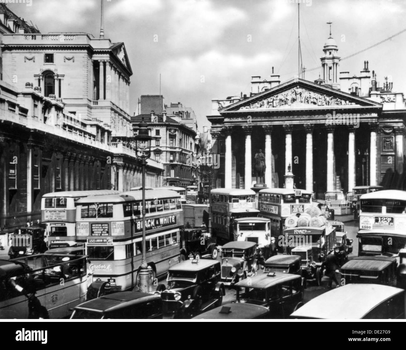 Géographie / billet, Grande Bretagne, Londres, places, Jonction de la Banque au cours de l'heure de pointe, vue, vers 1930, Additional-Rights-Clearences-NA Photo Stock