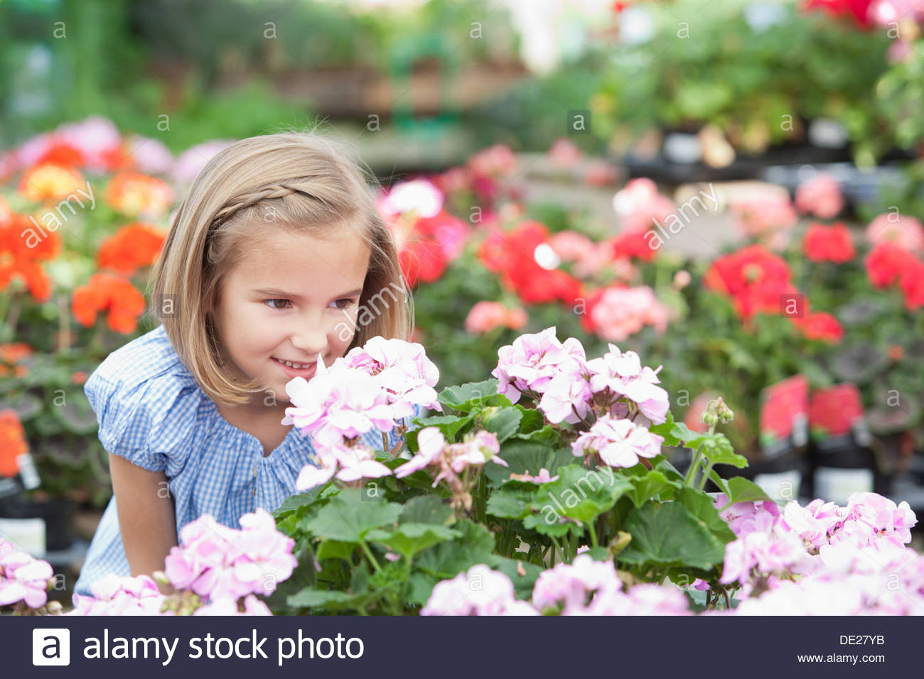 Girl smelling flowers at nursery Photo Stock
