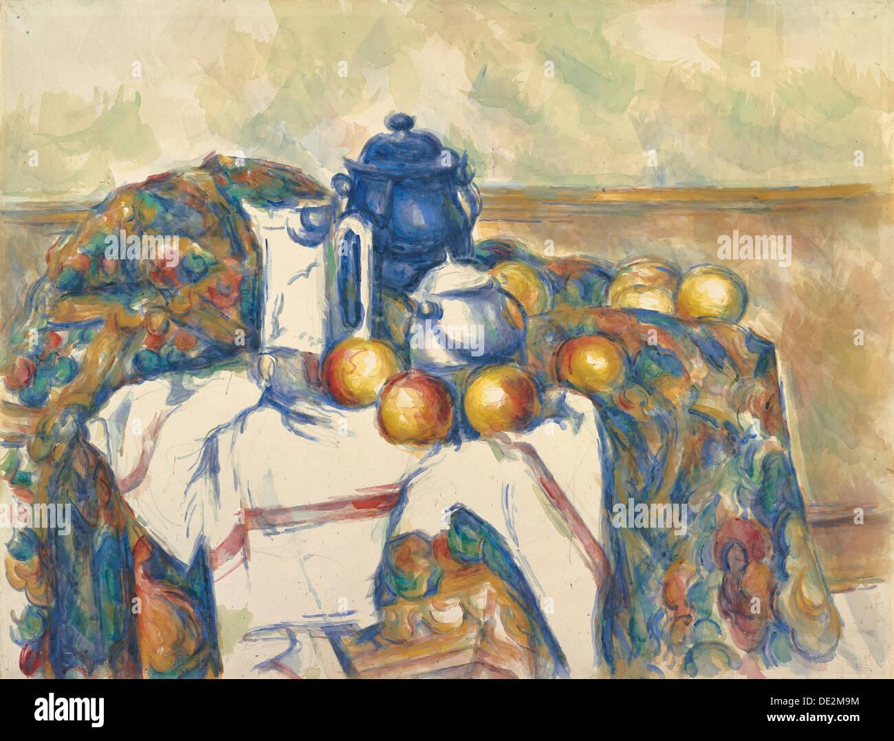 Nature morte au Pot bleu; Paul Cézanne, Français, 1839 - 1906 Banque D'Images