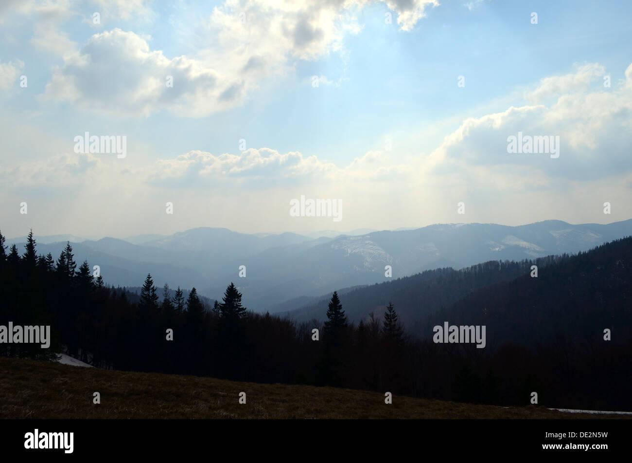 Voir la chaîne de montagnes de Parashka Photo Stock