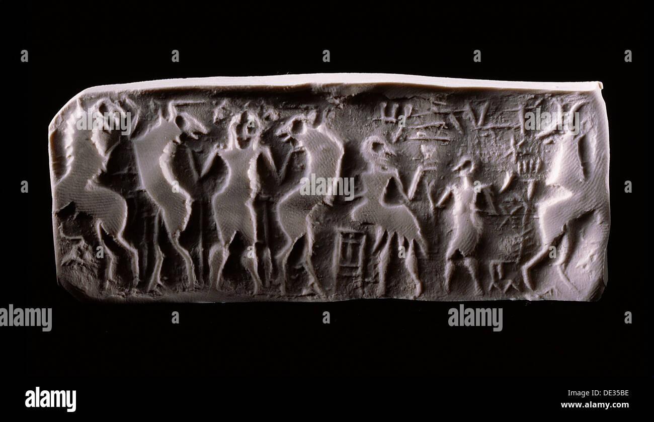 Impression moderne d'un joint de vérin d'albâtre sumérien dynastique. Photo Stock