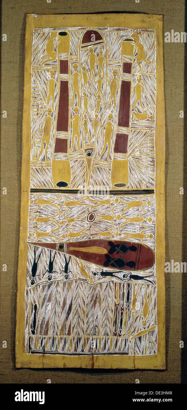 Écorce autochtones tableau représentant un épisode de la mythologie ancestrale du clan. Photo Stock