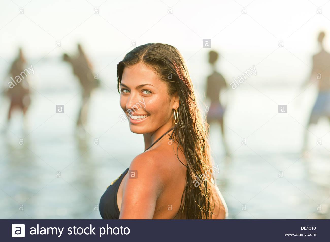 Woman wearing bikini on beach Photo Stock
