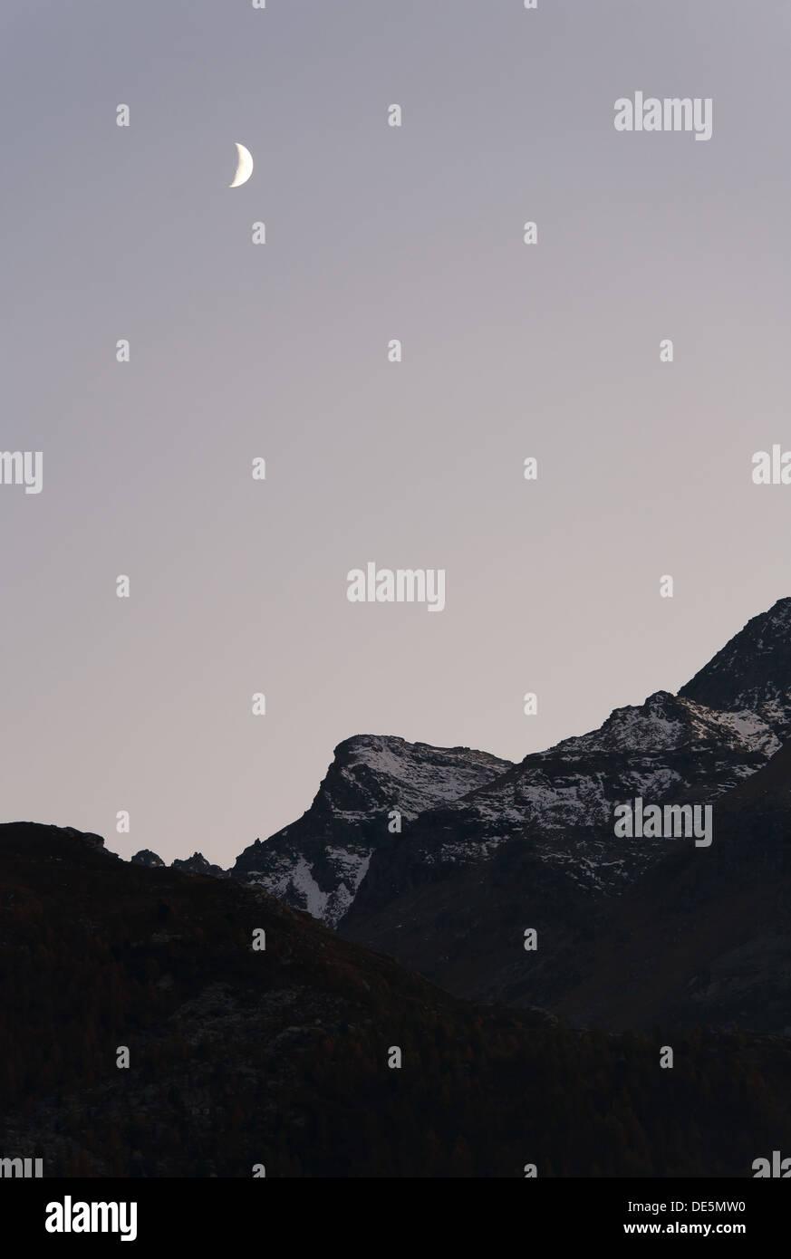 Sils Maria, Suisse, moonlight dans la Haute-Engadine Banque D'Images