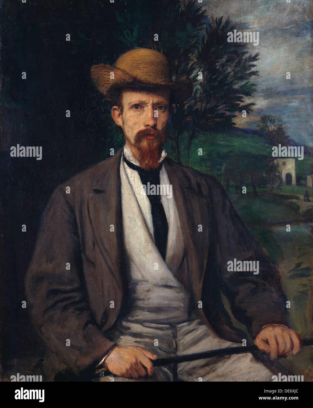 Self-Portrait with Yellow Hat, 1874. Artiste: María©es, Hans von (1837-1887) Photo Stock