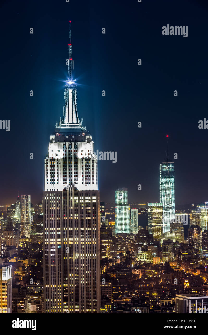 Empire State building par nuit Photo Stock