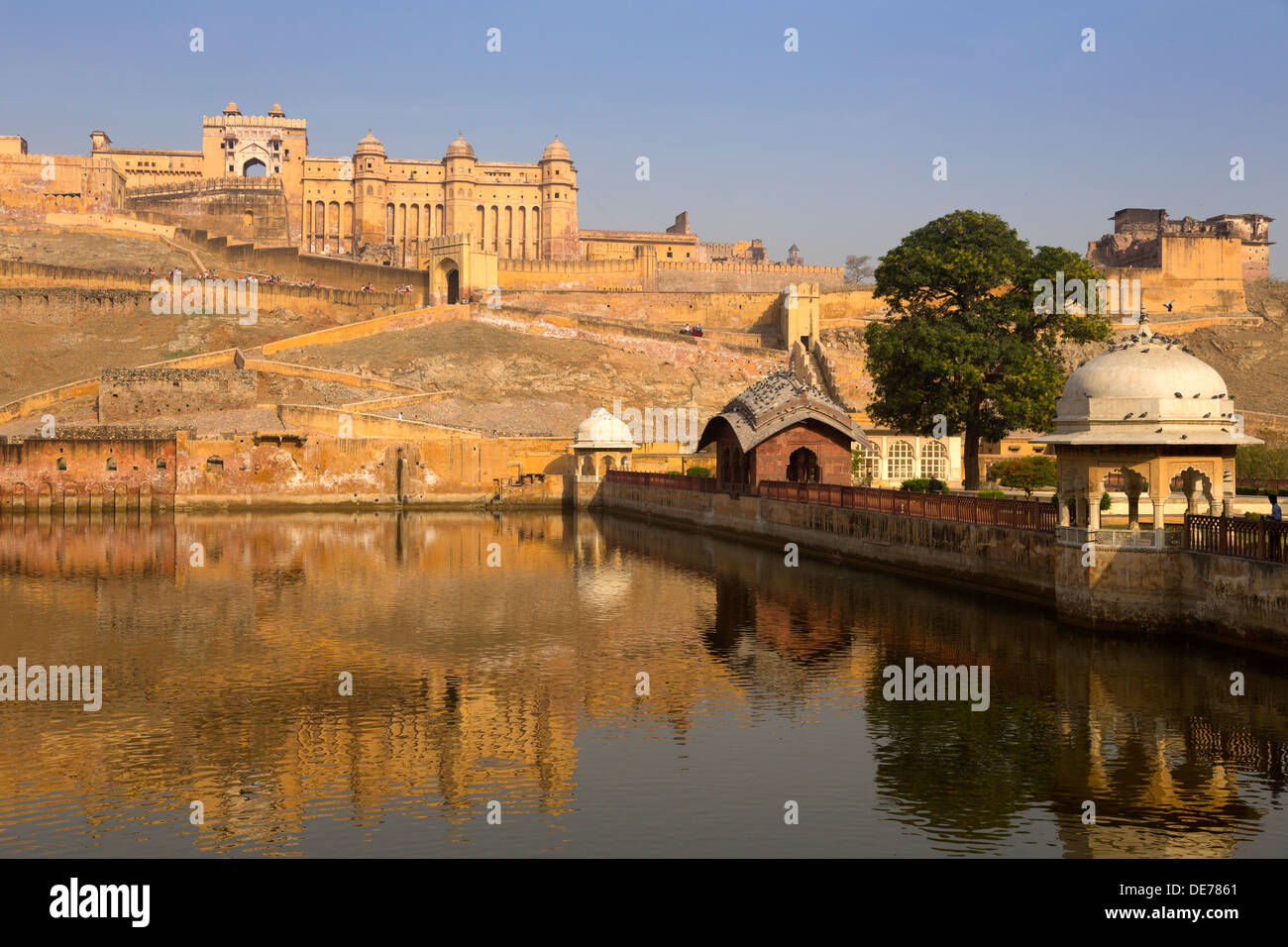 L'Inde, Rajasthan, Jaipur, Amber Palace à golden morning light Photo Stock