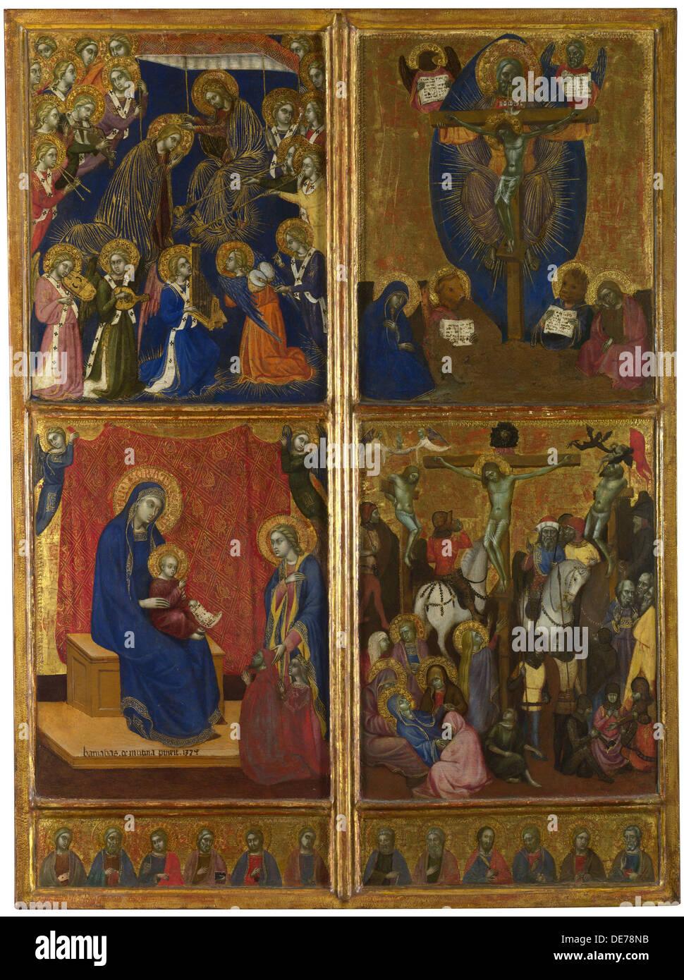 Le couronnement de la Vierge. La Trinité. La Vierge et l'enfant avec les donateurs. La Crucifixion. Les douze apôtres, 1374. Artiste: Photo Stock