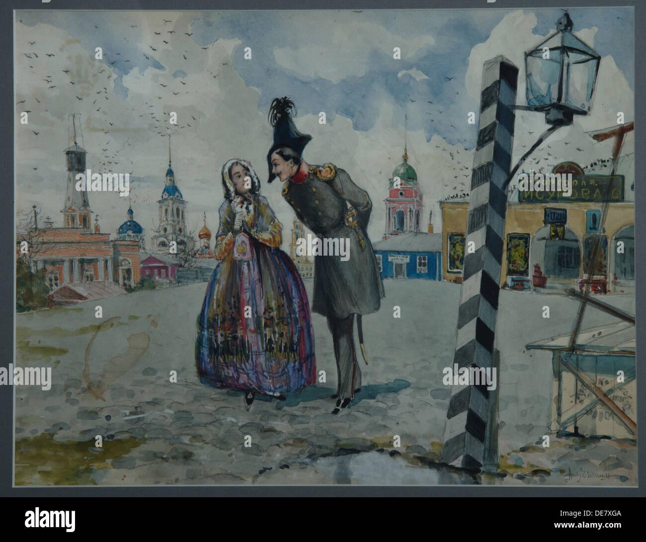 Dans la province, des années 1900. Artiste: Lozhkin, A.V. (Active au début du 20e cen.) Photo Stock