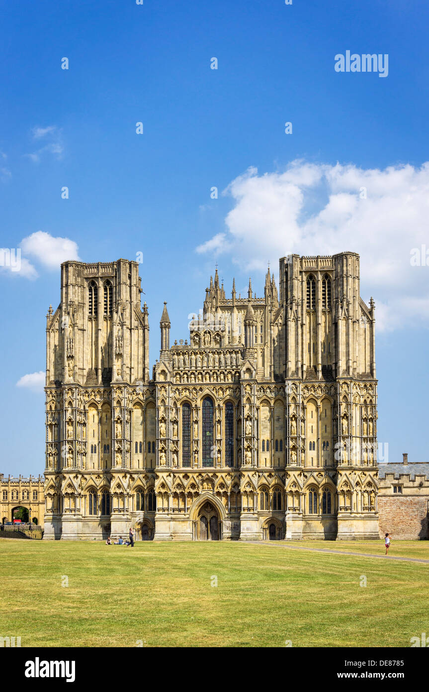 Wells Cathedral et Wells, Somerset, Royaume-Uni, Banque D'Images