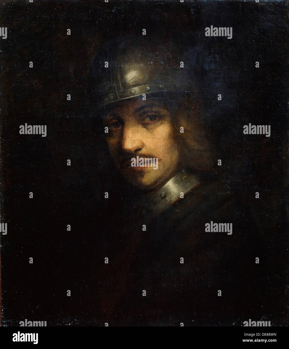 'Portrait d'un homme avec des casques, 17e siècle. Artiste: Ferdinand Bol Photo Stock