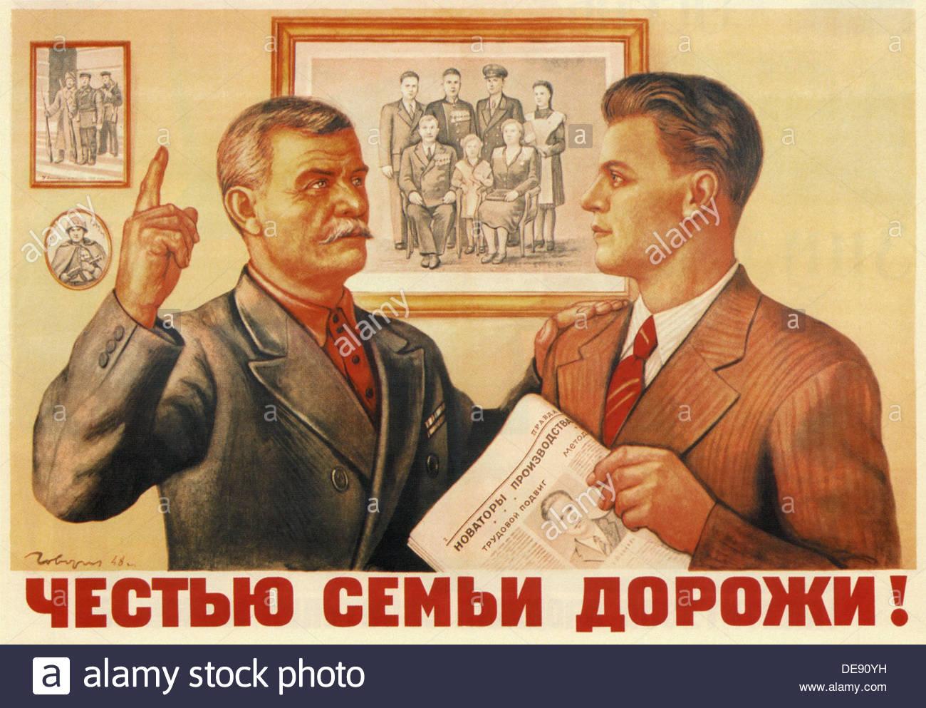 Chérir l'honneur de la famille!, 1949. Artiste: Govorkov Iwanovich (1906-1974, Viktor) Photo Stock