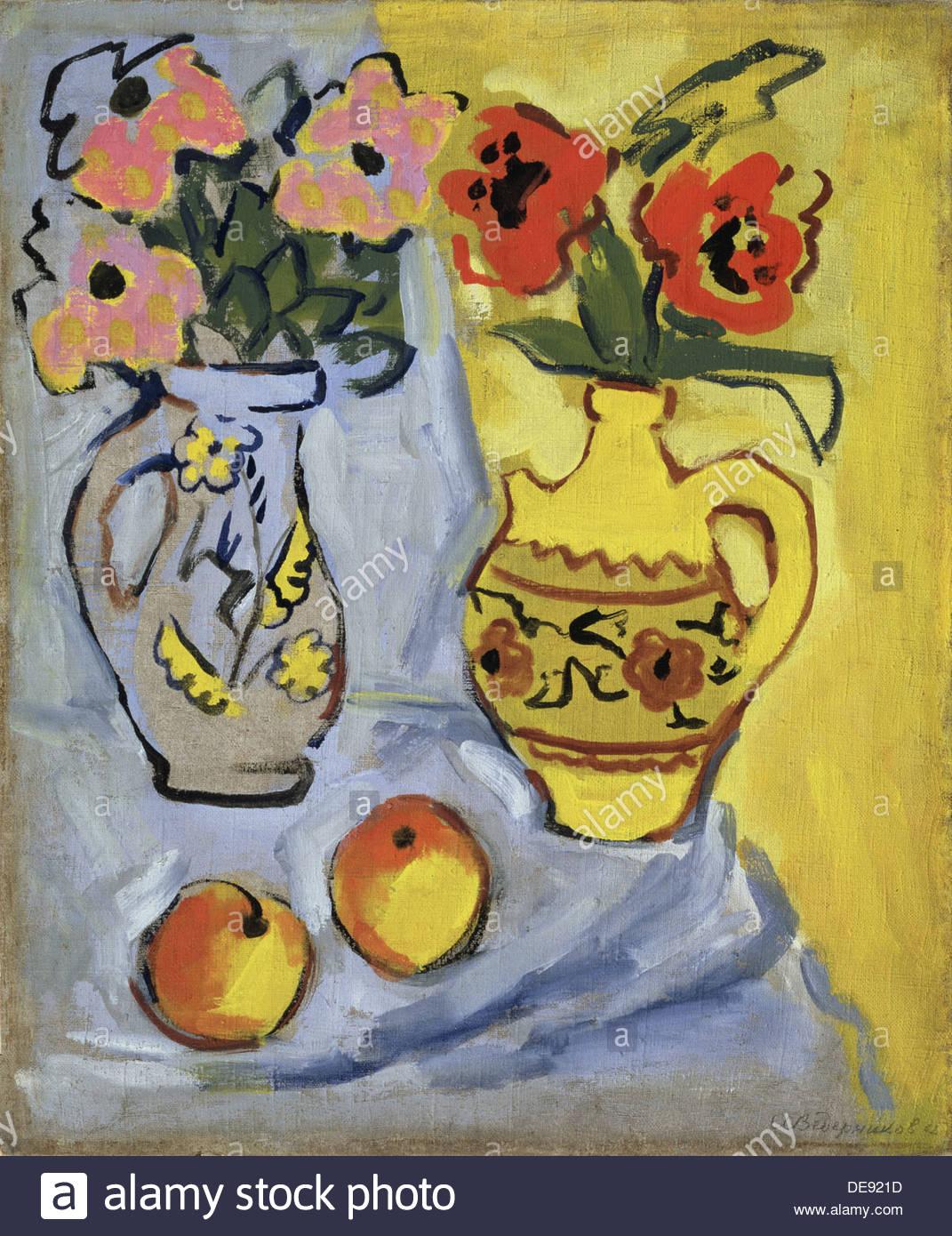 La vie, toujours jaune 1962. Artiste: Alexander Vedernikov, Semionovitch (1898-1975) Photo Stock