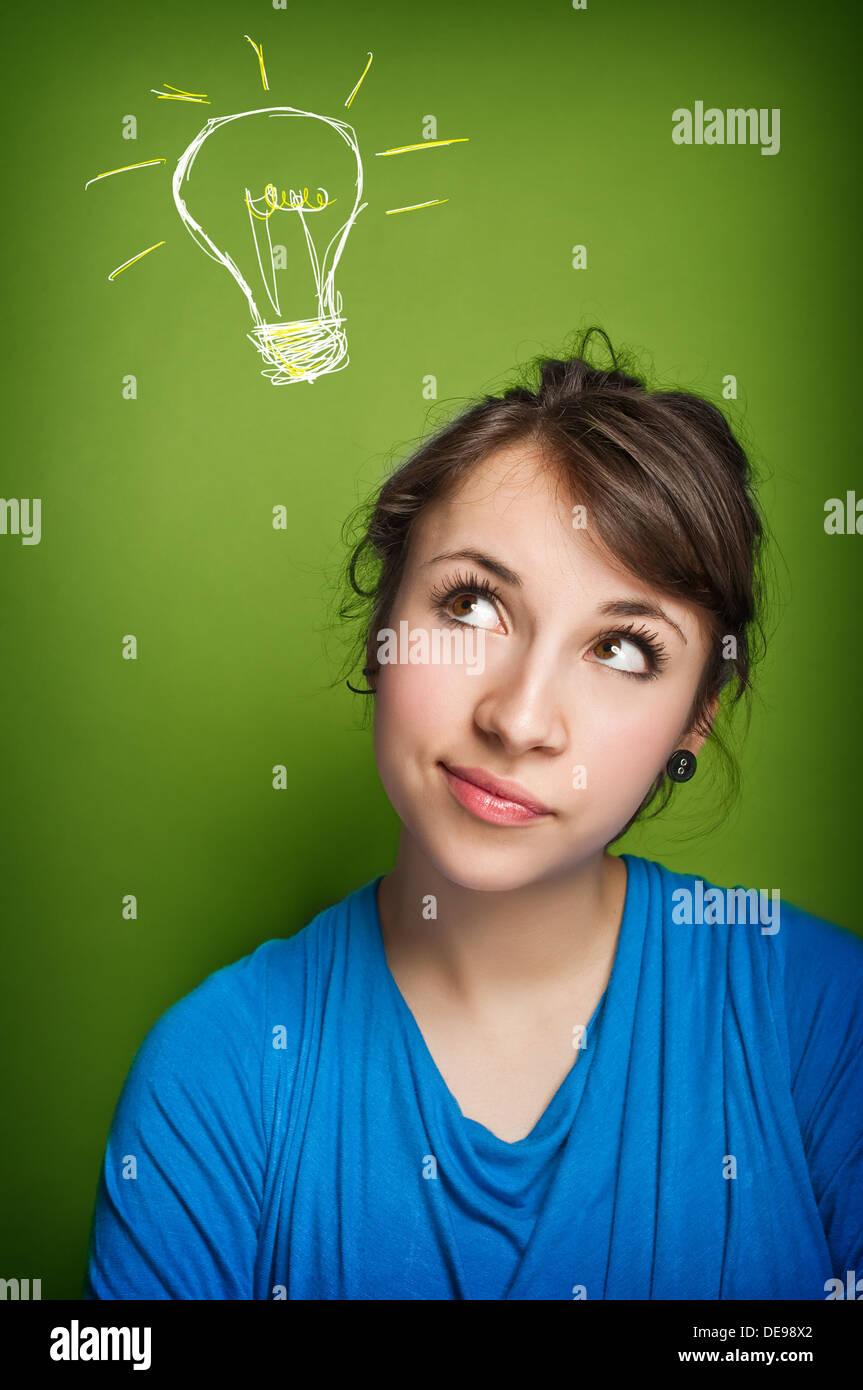 Avoir une idée de fille Photo Stock