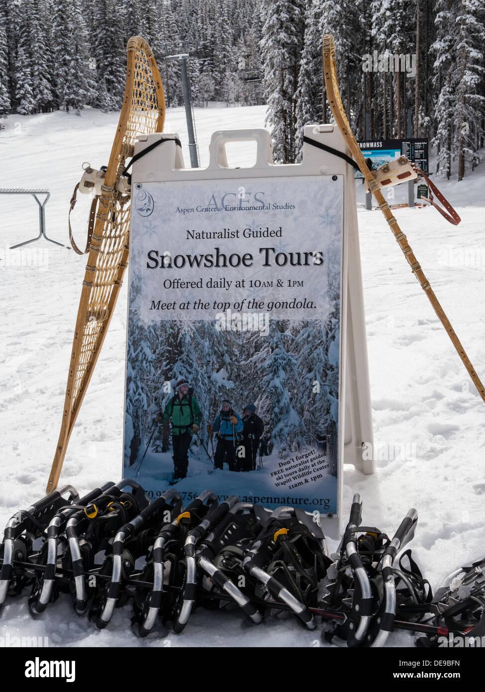 Centre pour l'environnement d'Aspen voyage d'inscription haut de la gondole, Elk Camp de Ski d'hiver, Snowmass, dans le Colorado. Photo Stock