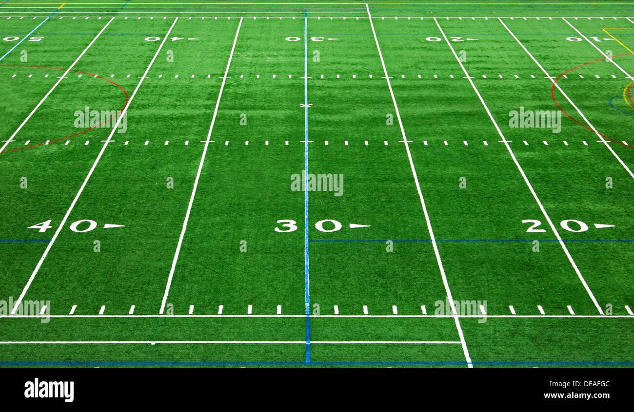 Les marques sur le terrain d'un stade de football américain, USA Banque D'Images