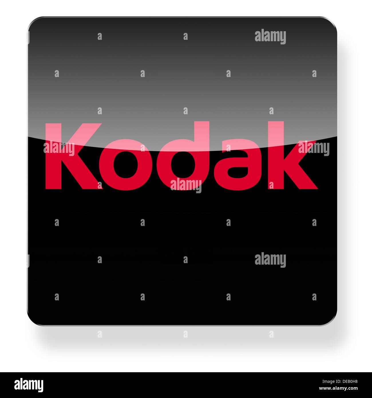 Logo Kodak comme une icône de l'application. Chemin de détourage inclus. Photo Stock