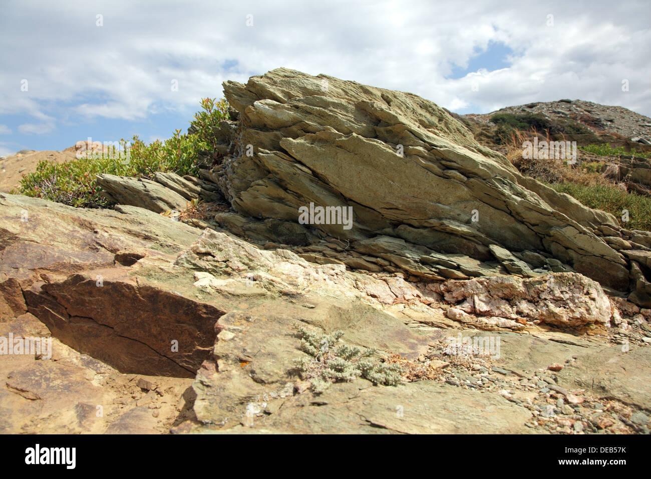 Rocks close-up sur une île de Crète, Grèce Photo Stock