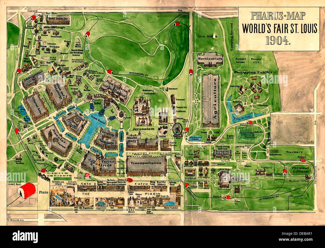Pharus Plan de l'Exposition mondiale 1904 Saint Louis, Missouri. Photo Stock