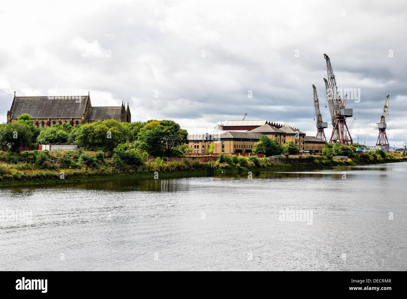 Vue sur la rivière Clyde, Glasgow, Écosse, Royaume-Uni Banque D'Images